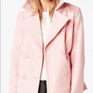Jackets & Blazers - CLASSIC PINK DOUBLE BREASTED PEACOAT